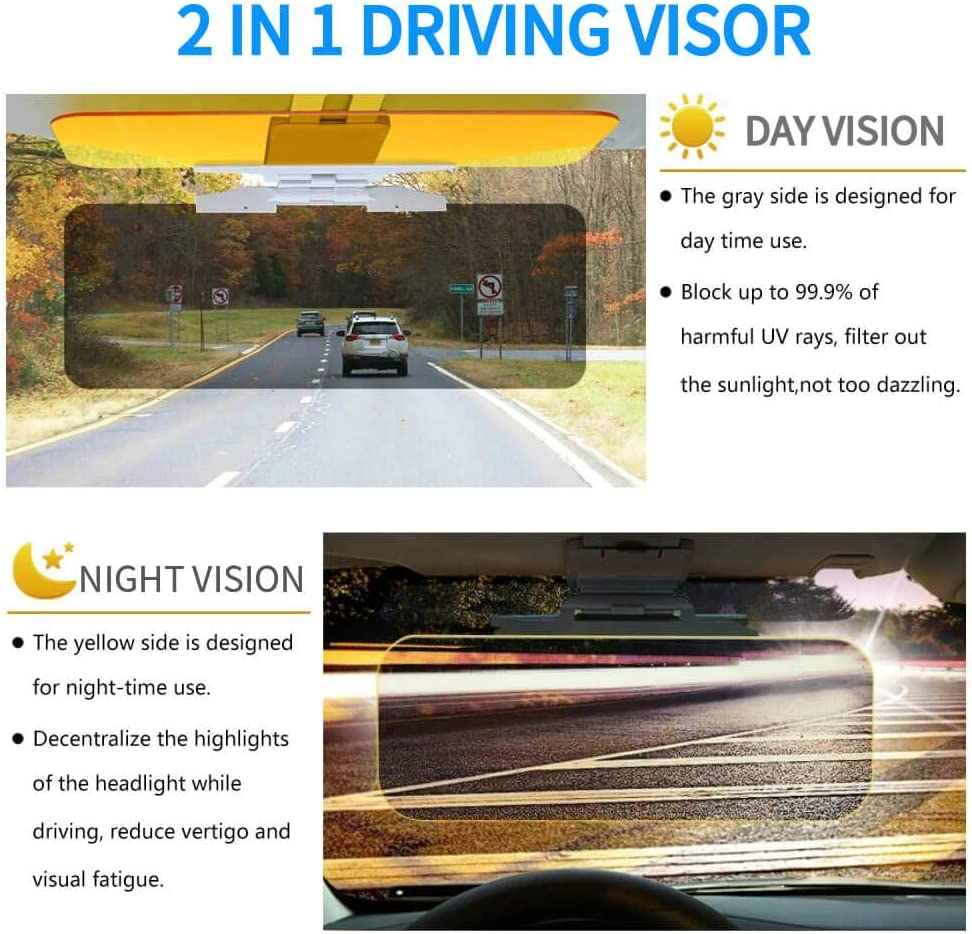 2019 Car Sun Visor Extra Width Day and Night Auto Driving Visor Extender Night Vision Anti-Dazzle Windshield Driving Visor Anti-Glare Visor Universal Size Sunshade Mirror