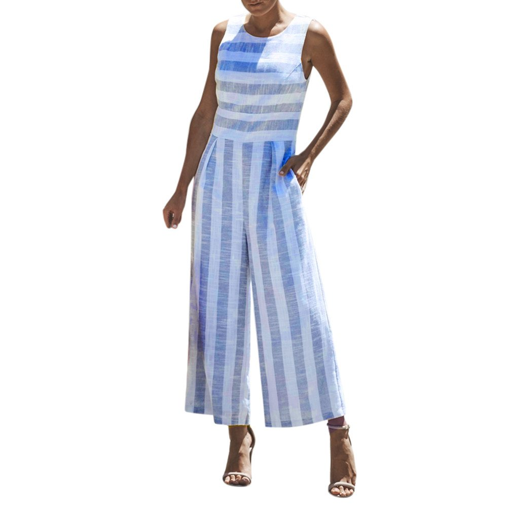 WUAI Womens Sexy Sleeveless Spaghetti Strap Striped Printed Harem Wide Leg Jumpsuit Beach Rompers Playsuit (Blue,Medium)