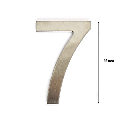 Letra de acero inoxidable adhesiva n/úmero de puerta de dise/ño altura 7,5 cm n/úmero de casa