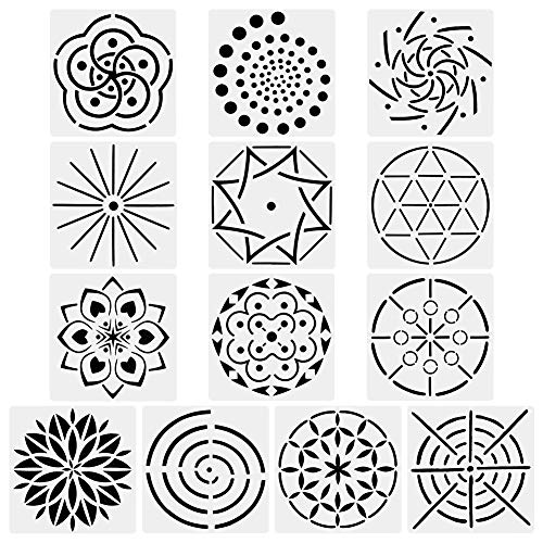 (URlighting Mandala Dotting Stencils Template (13 Pack) - Reusable Different Patterns Mandala Dot Painting Template Set for Stone Wall Art, Canvas, Wood Furniture)