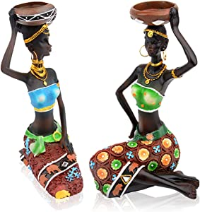 CYYKDA 2PCS Statue African Figurine Women Figure Girls Tribal Lady Candlestick Collectible Art Piece African Decor. African Decorations For Home Black Figurines Vintage Gift Handmade Doll Candleholder