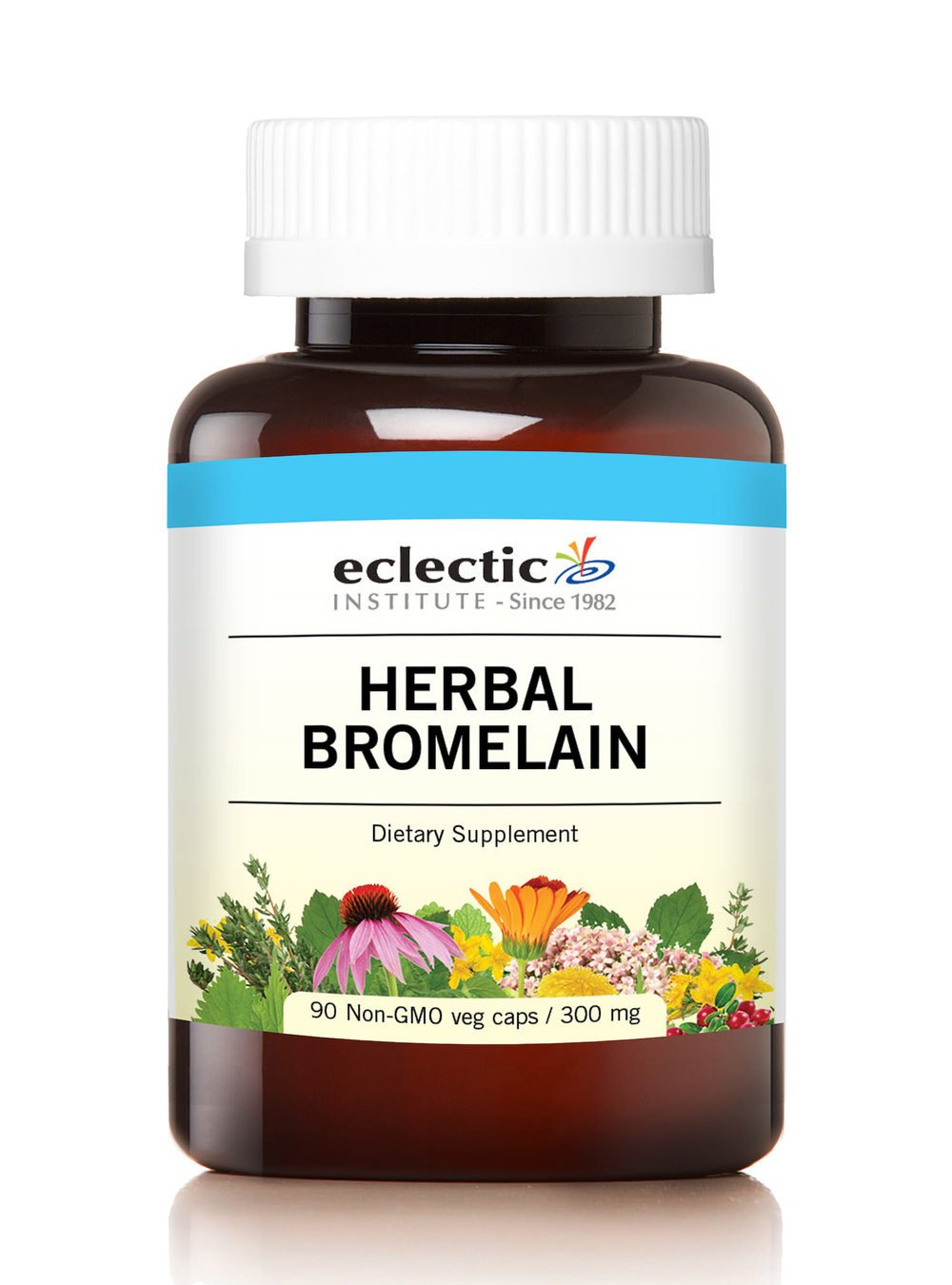 Eclectic Herbal Bromelain with Glass, Blue, 90 Count