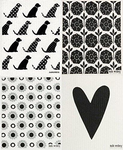 WL Set of 4 Grey//Black Dogs + Swedish Dishcloth COMINHKPR52212