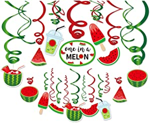 Kristin Paradise 30Ct Watermelon Hanging Swirl Decorations, Summer Party Supplies, Birthday Theme Decor for Kids Boy Girl Baby Shower, 1st Bday Favors Idea