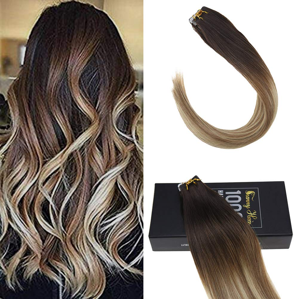 Amazon Sunny Tape Hair Extensions Remy Human Hair 2 Darkest