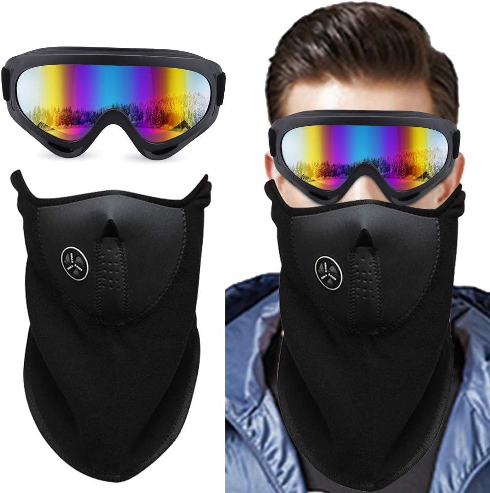 HICOO Gafas de Nieve a Prueba de Viento Pasamontañas Traje con Protección UV400 CE Gafas de Resistencia al Viento para Snowboard, Esquí, Motocicleta