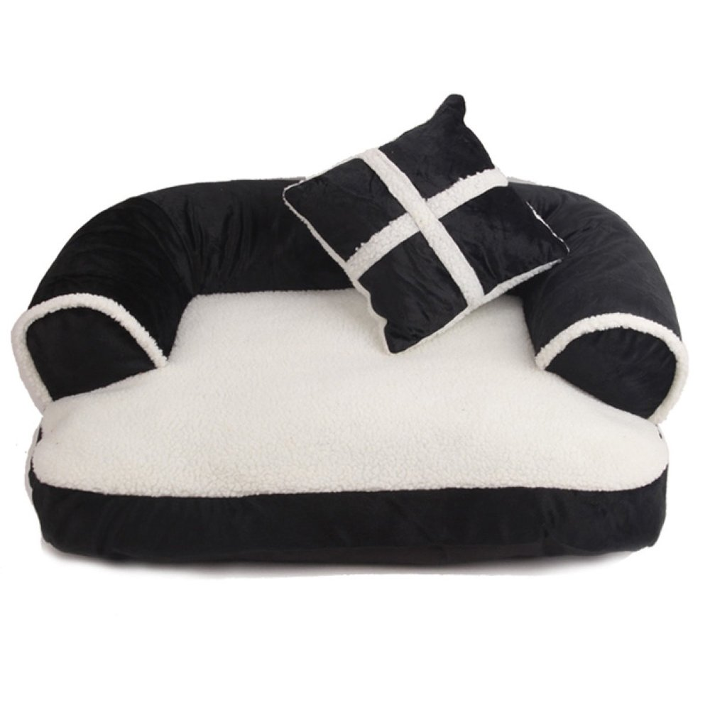 Black 7050cm Black 7050cm ANHPI Warm Kennel Cat Litter Small Medium Sized Dog Washable Dog Bed Pet Dog Mat,Black-70  50cm