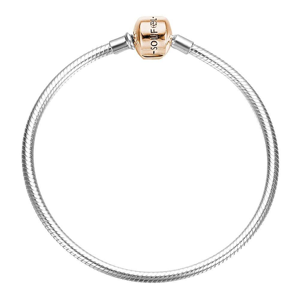 SOUFEEL Rose Gold Clasp Bracelets Exclusive 925 Sterling Silver Bracelets Basic Charm Bracelet 8.3 Inch