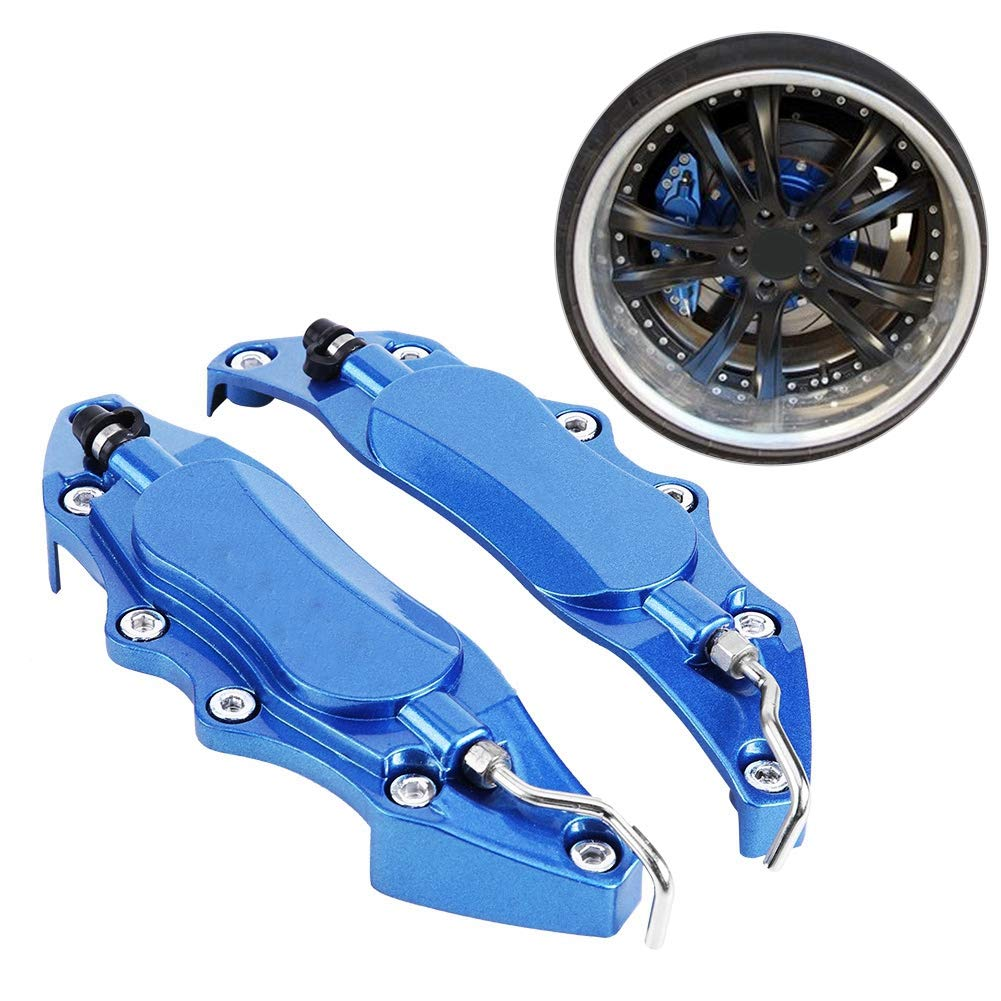 Blue 2pcs Brake Caliper Protector Cover Aluminum Alloy Brake Caliper Guard for Wheel Hub 14in-15in Small