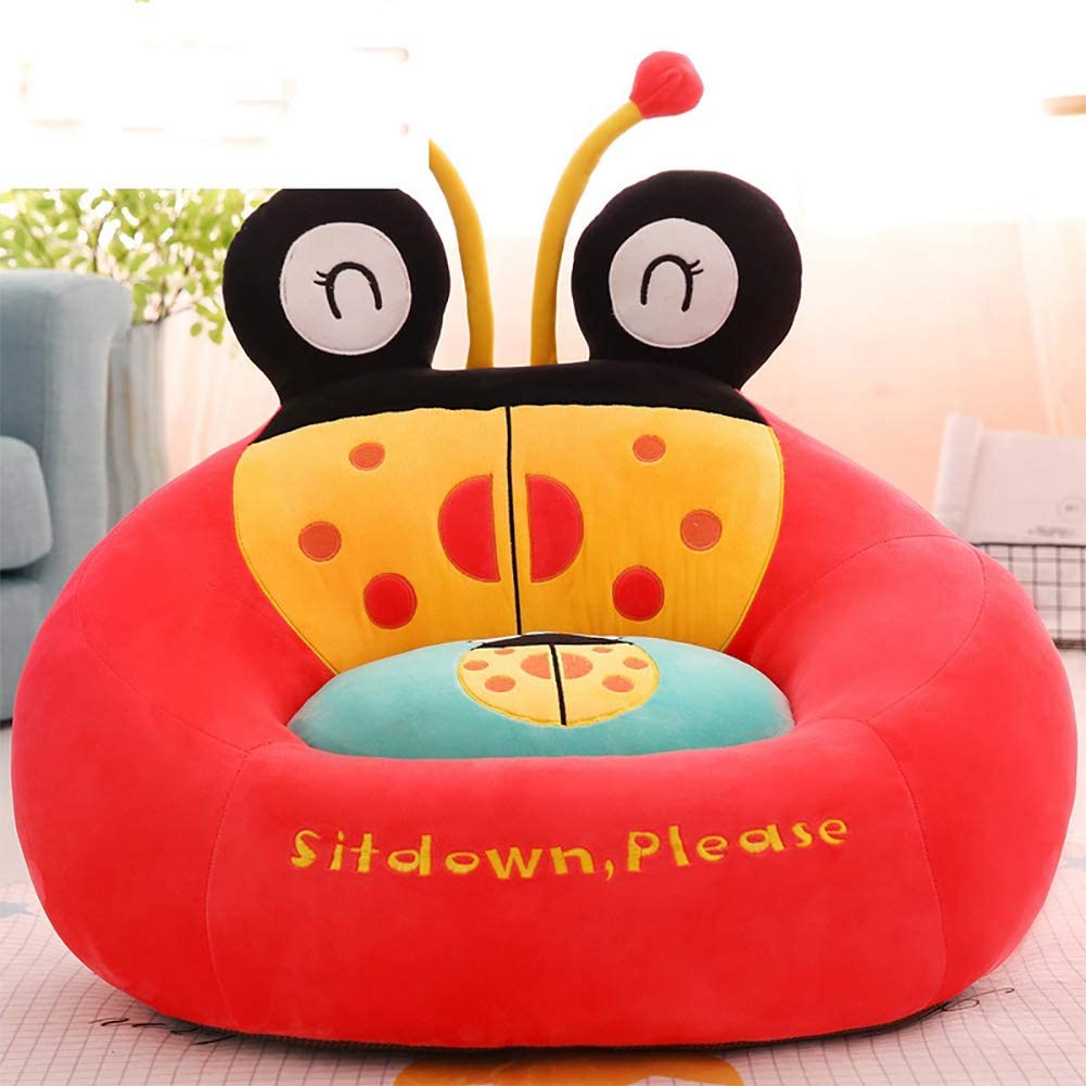 TOYSOFA Plush Bean Bag Chair, Mini Cartoon Kid Sofa Chair Cute Soft Stuffed Ladybug Animal Child Sofa seat Toddler Furniture for boy Girl Gifts -Pink 60x50cm(24x20inch)
