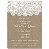 Bridal Shower Invitations, Burlap, Lace, Country, Wedding Shower, Chic, Rustic, Personalized, Customized, 10 Custom Printed Invites with Envelopes, Burlap and Lace