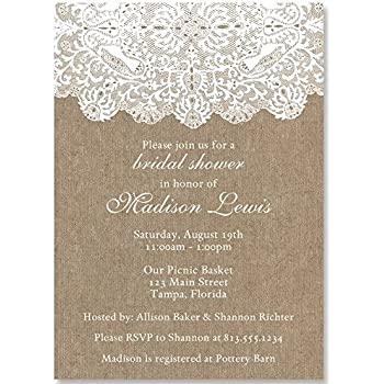 bridal shower invitations burlap lace country wedding shower chic rustic