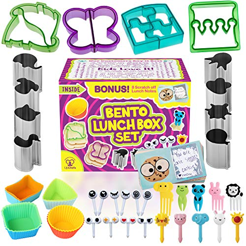 Complete Bento Lunch Box Supplies and Accessories For Kids - Sandwich Cutter and Bread Crust Shape Remover - Mini Vegetable Fruit Shapes cookie cutters - Silicone Cup Dividers - FREE Food Pick forks ()