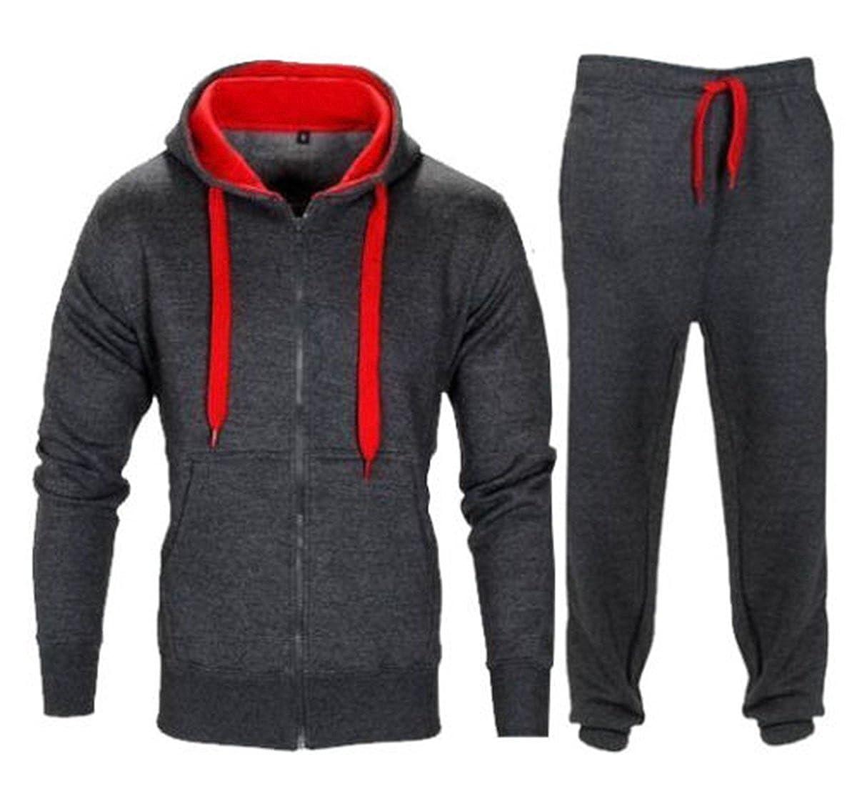 maglia a maniche lunghe tinta unita o a contrasto pantaloni da palestra in pile Parsa Fashions Tuta da uomo Red M taglie dalla S alla 5XL Charcoal con cerniera e cappuccio