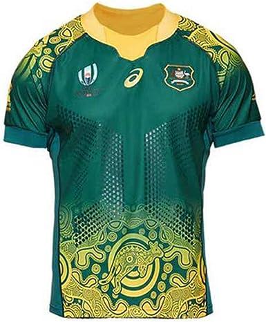 Camisetas de Rugby 2019 Copa del Mundo de Japón Australia Canguro Camisas de Hombre Ropa de Atletas Fútbol Camisetas de Manga Corta Casuales, Fibra de poliéster Secado rápido Cómodo: Amazon.es: Ropa y