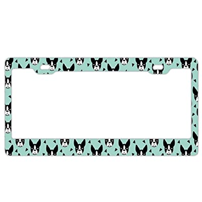 EXMENI Boston Terrier Mint License Plate Frame Theft-Proof Frames Stainless Steel Board Frames: Sports & Outdoors