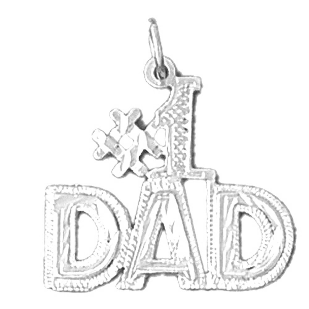 Jewels Obsession #1 Dad Necklace Rhodium-plated 925 Silver #1 Dad Pendant with 18 Necklace