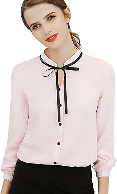 Tops Office Ladies Blouse Fashion Long Sleeve Bow Slim Shirt Female Sweet Bodycon Work Blouses Blusas Autumn Spring Shirts At Amazon Women S Clothing Store