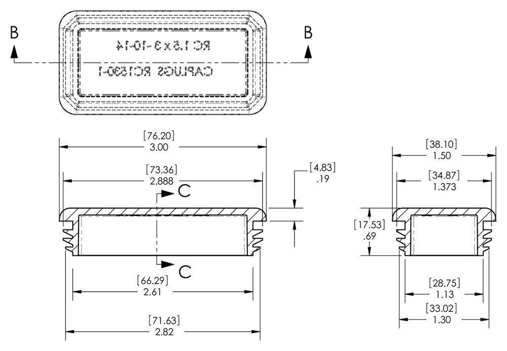 Black PE-LD RER-RC-1530-1 .134-.083 Caplugs ZRC1530-1Q1 Plastic Plug for Rectangular Tubing Pack of 20 Hole Width 1.500 Hole Length 3.000 Wall Thickness 10-14 Ga.