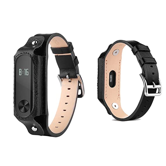 Xiaomi Mi Band 2 bands Pinhen Leather Wrist Blet Strap Wristband Bracelet  Accessories With Metal Frame For Xiaomi Mi Band 2 Smart Watch Miband