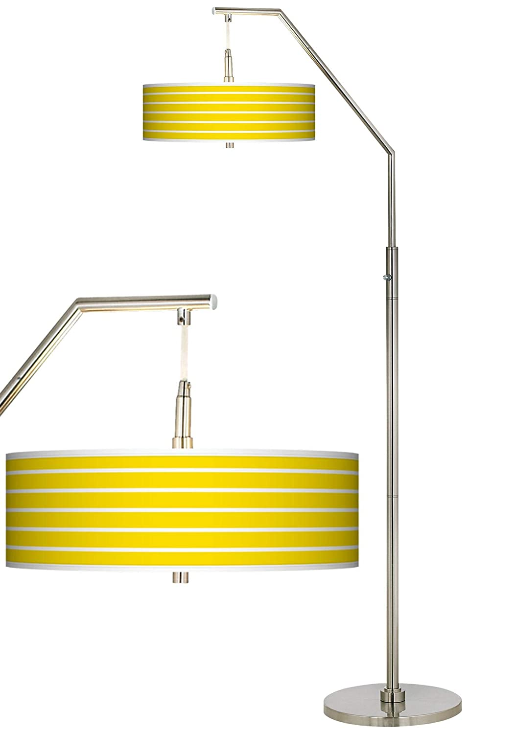 Modern Arc Floor Lamp Brushed Nickel Vivid Yellow Stripes Pattern Giclee Drum Shade for Living Room Reading Bedroom – Giclee Glow