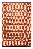 Green Decore Lightweight Outdoor Reversible Plastic Rug Arabian nights Orange / White - 150 cm x 240 cm (5ft x 8ft)