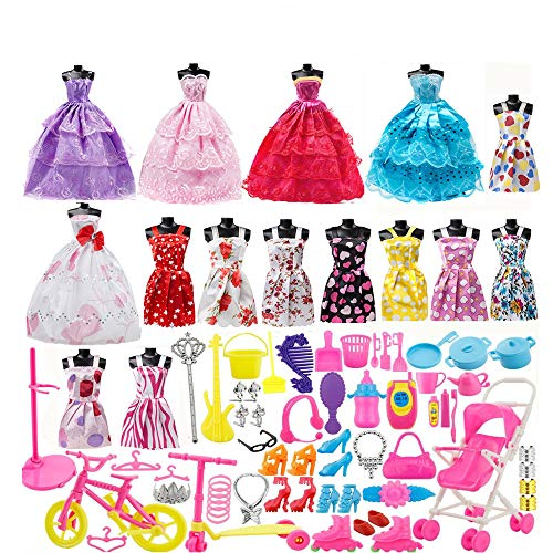 lothes Set, 15 Pack Barbie Clothes Party Grown Outfits Dresses and 98pcs Different Doll Accessories Shoes bags Glasses Necklace Tableware for Little Girl Birthday ()