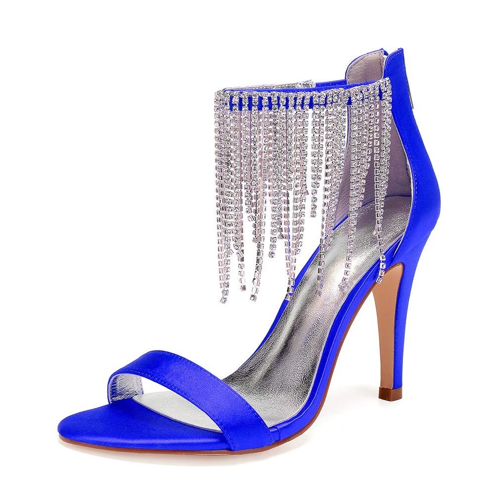 bleu Moojm Escarpins Femme Bout Ouvert Diamant Btide Zip Arrière Arrière Sandales Chaussures de mariee Bal  remise