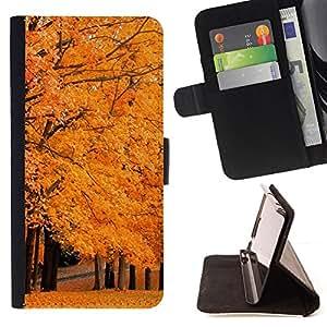 For Samsung Galaxy S4 IV I9500,S-type Árbol del otoño- Dibujo PU billetera de cuero Funda Case Caso de la piel de la bolsa protectora