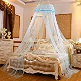 Lustar Princess Lace Mosquito Net Bed Canopy Children Fly Insect Protection Indoor Decorative Height 2.8m Top Diameter 0.6-1m,Bluec