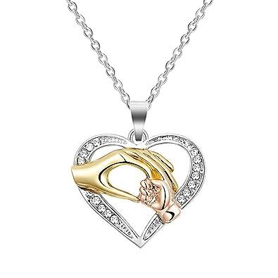 super populaire daa32 6910e Cadeaux pour maman, CNNIK Collier coeur amour coeur bébé main dans la main  en or rose argent collier pendentif chaîne de fête des mères bijoux pour ...