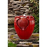 Outdoor Indoor Glazed Jar Pot Floor Fountain w/LED light Waterfall- Red