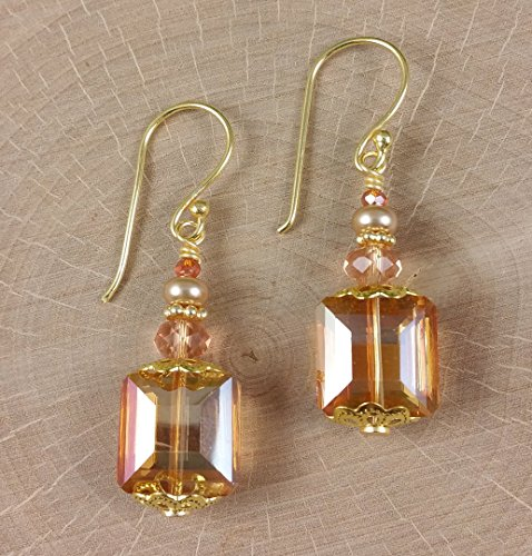 Amber Rectangles Golden Copper Earrings in Neutral tones made with Glass Crystals Gold