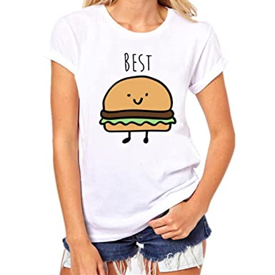 fcada6fef76724 Bravetoshop Women Hamburg & French Fries Printing Short Sleeve Top Casual T  Shirt Blouse Loose Pullover