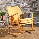 Balen Mid Century Modern Fabric Rocking Chair (Muted Yellow)
