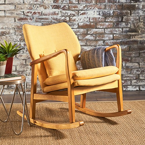 Christopher Knight Home 302101 Balen Mid Century Modern Fabric Rocking Chair (Muted Yellow),