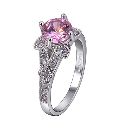 YAZILIND Silver Plated Round Pink Cubic Zircon Wedding Ring Jewelry 78I60RlDze