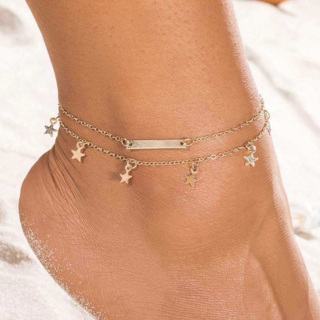 Edary Boho Double Star Gland Bracelets De Cheville Barre Dor Cheville Bracelet Mode Pied Bijoux pour Femmes et Filles