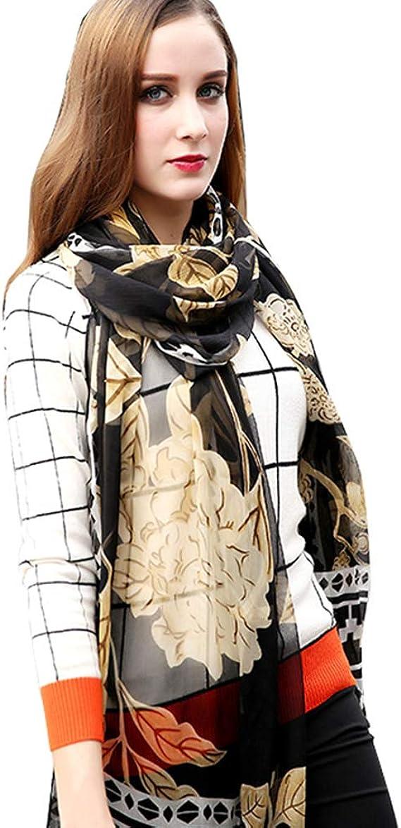 Premium 100/% Pure /& Natural Silk Long Scarf Wrap Schal Solid Orange