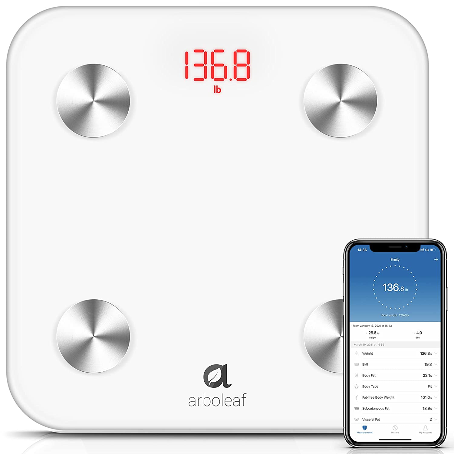 Arboleaf Body Fat Scale Digital Scale High Precision Bathroom Scale 14 Body Composition with Smartphone App Sync with WiFi and Bluetooth Weight Scale White Smart Scale