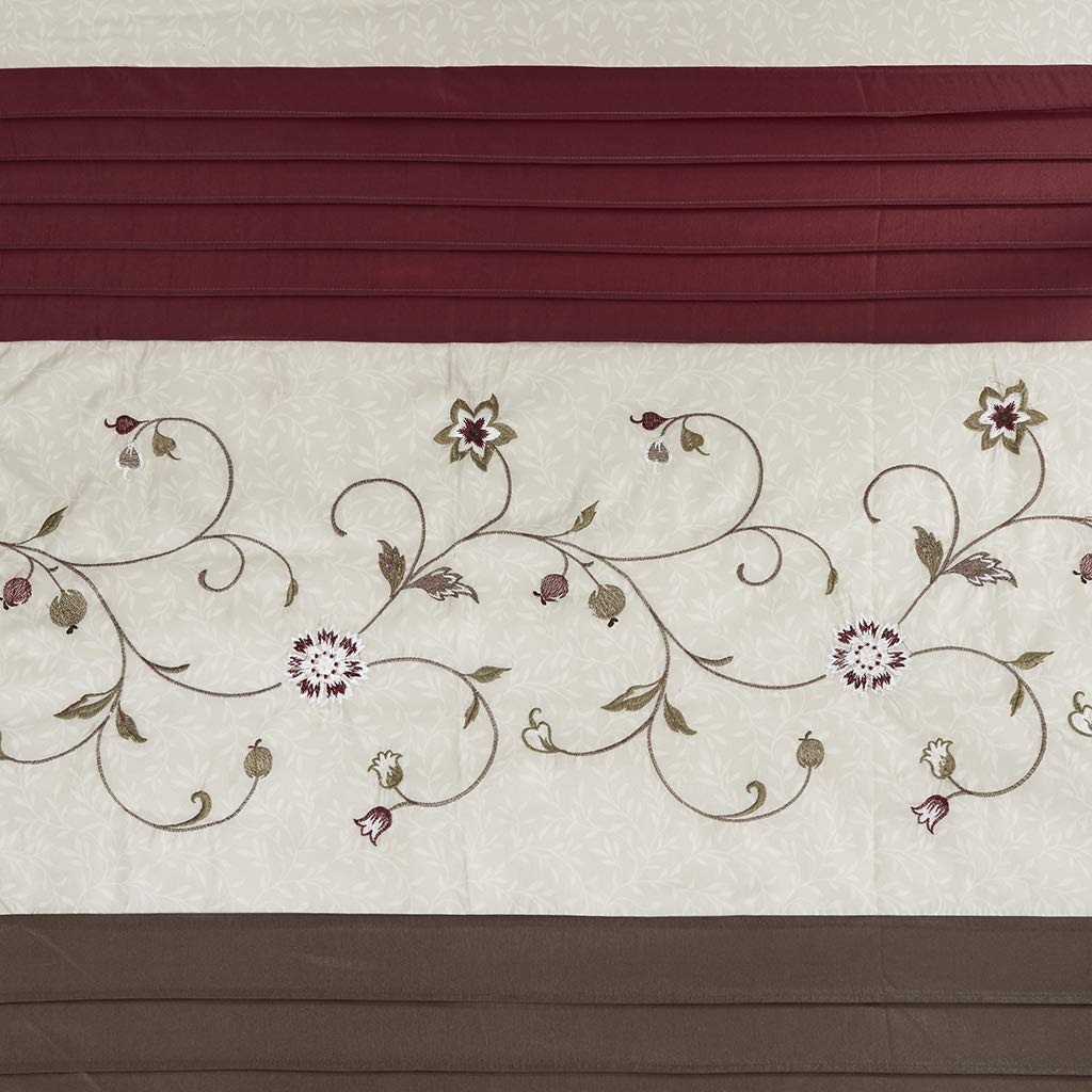 Madison Park Embroidered Serene Shower Curtain Red 108x72