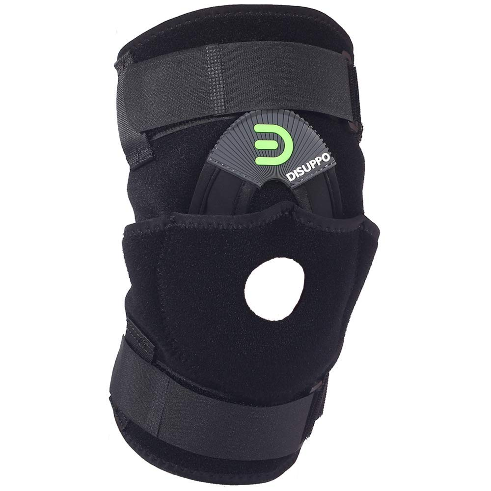 DISUPPO Knee Brace with Double Side Spring Stabilizers, Open Patella Adjustable Knee Support Stabilizer for Arthritis, Joint Pain, Meniscus, Injury Recovery, Tendonitis, Women Men (No Metal, L) by DISUPPO