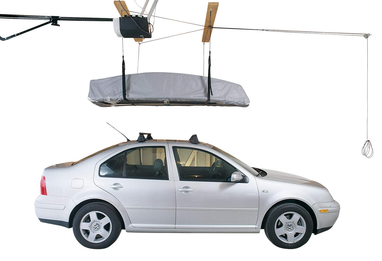 HARKEN Cargo Box Garage Storage Ceiling Hoist | 4 Point System | for 10ft Ceilings, 145lbs Max Load | 3:1 Mechanical Advantage | Easy Lift, Single-Person Operation, Rooftop, Hanger, Pulley, Carrier
