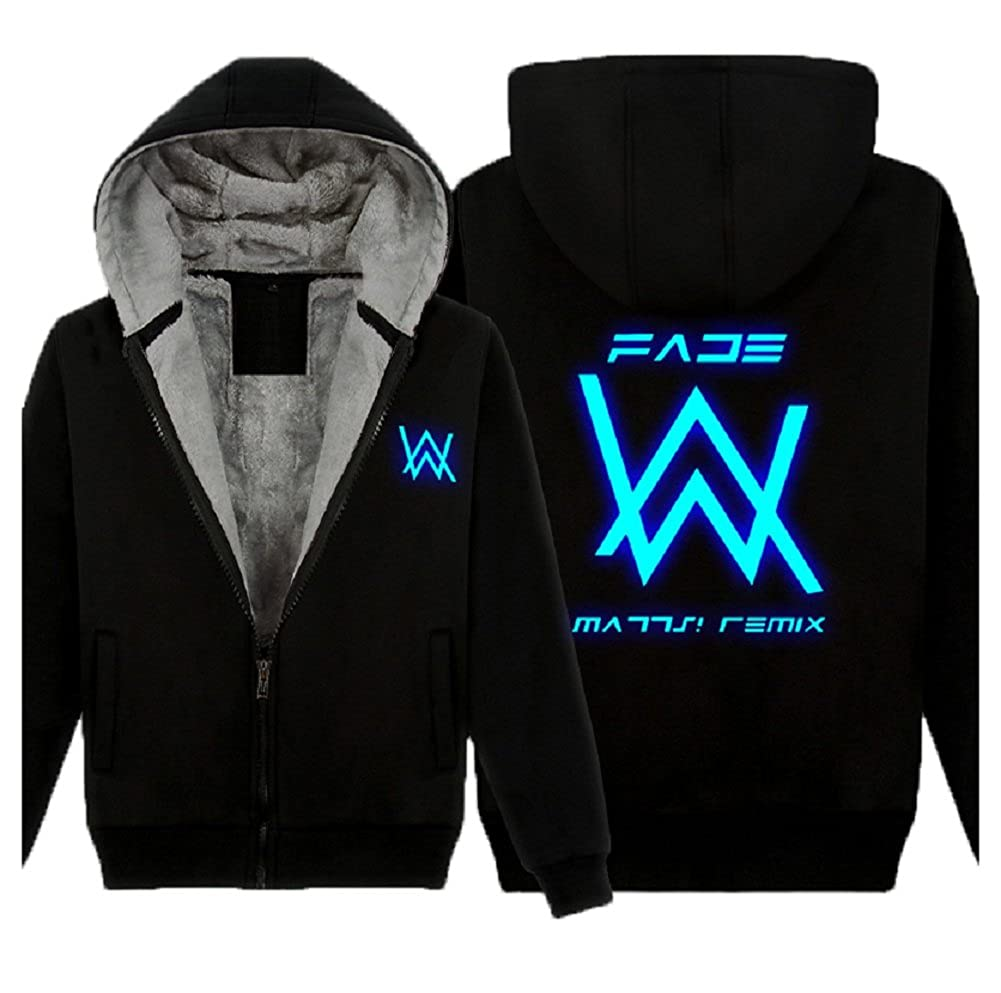 Amazon.com: Meelanz Alan Walker Plus Velvet Luminous Zip Hoodies Before and After AW: Clothing