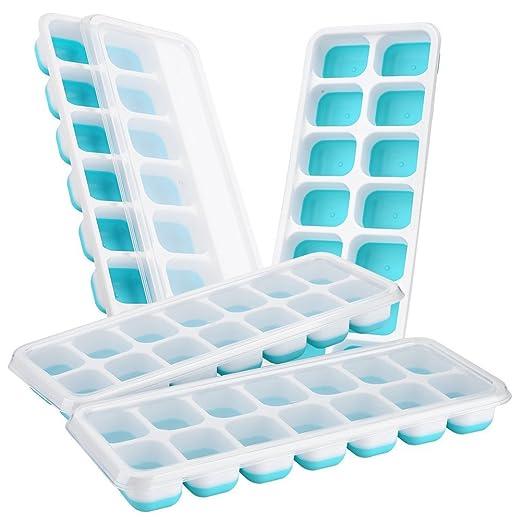 FuCaiLai 4 unidades de bandejas para cubitos de hielo de silicona ...