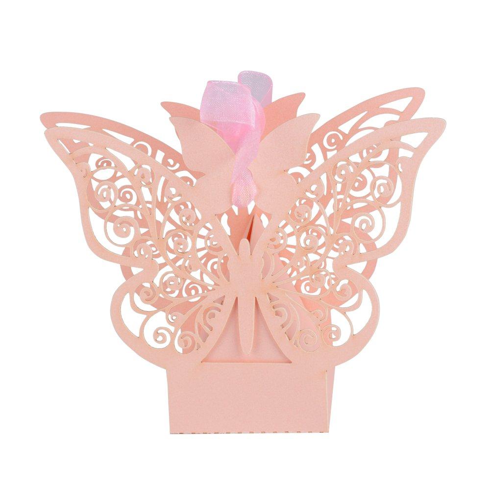 AONER ʚiɞ100 Pcs Boîte à Dragées Bonbonnières en Motif Papillon avec Ruban pour Décoration de Mariage Fêtes Baptême (Rose Nacré) 10290