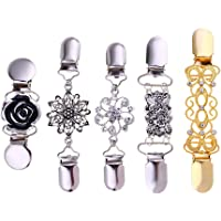F Fityle 5x Sweater Shawl Cardigan Collar Clips Antique Flowers Dress Clip for Women