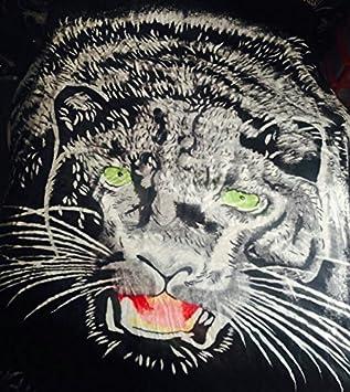 couvre lit panthere Imprimé animal panthère noire et bleu Loup imitation fourrure 200  couvre lit panthere