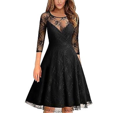 La Vogue Women Lace Semi High Round Collar Solid Three-Quarter Sleeve Dress Black UK6