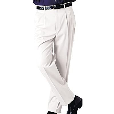 Ed Garments Men's Tall Business Casual Chino Pleated Pant, WHITE, 40 34